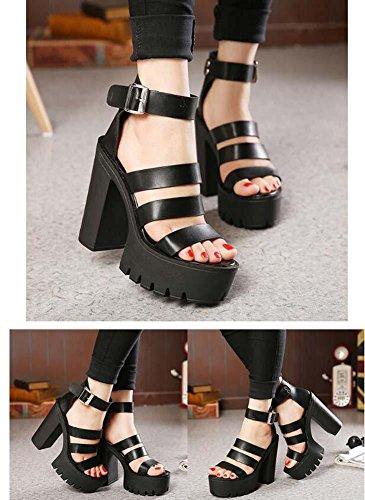 Onfly Pompe Chunky Heel Des sandales aux femmes Charmant Open Toe Creux Plate-forme épaisse Ankel Strap Talon haut Chaussures Rome Classique Boîte de nuit Chaussures Eu Size 35-39 Black