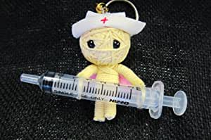 Naughty Nurse Voodoo String Doll Keychain Lucky Charm Ornament