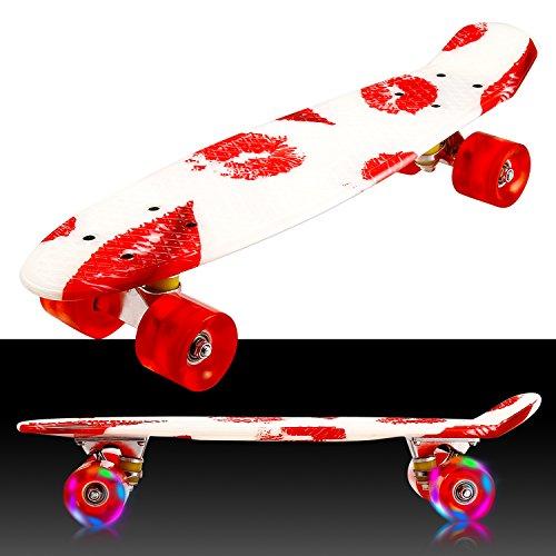 55cm/22 Mini Cruiser Board Retro Skateboard Komplettboard mit LED Leuchtrollen für Jugendliche Kinder und Erwachsene (Farbe 30)