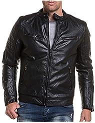 BLZ jeans - Blouson motard noir simili cuir fashion