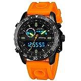 Infantry Orologio da polso digitale e analogico, da pilota, con cronografo, luminoso e sportivo, con cinturino in gomma arancione
