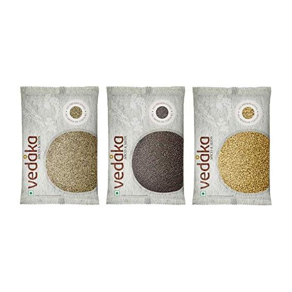 Vedaka Whole Jeera (Cumin), Mustard-Big (Rai), Methi (Fenugreek) Combo, 300g
