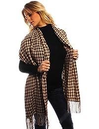 Accessoryo - surdimensionné dogstooth marron et beige conception foulard  des femmes 1fa9afcc5c8