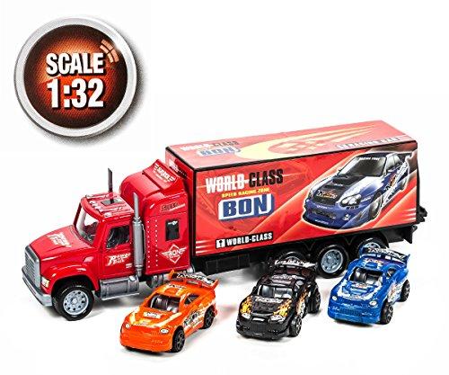 , 1 LKW mit Friktionsantrieb, 3 Spielzeugautos, Maßstab 1:32, Länge ca. 37 cm, lieferbar in den Farben Schwarz, Rot oder Blau (Rot) ()