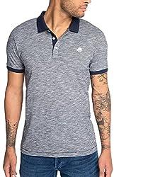 ESPRIT Herren Poloshirt 056EE2K046-aus Baumwoll Jersey-Slim Fit, Blau (Navy 400), Large