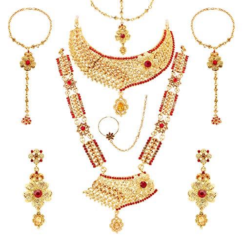 izaara Yellow Gold Choker Long Necklace Pair of Earrings 2 Hathphool 1 Nath and Maang Tika Jewellery Set for Women