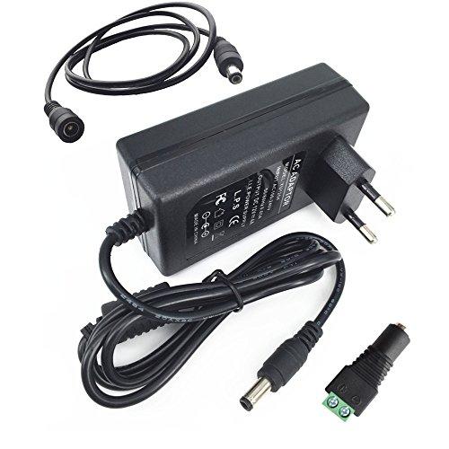 Eleidgs 80-240V AC / DC 12V 4A 48W Adaptador Convertidor Cargador de Fuente de Alimentación Enchufe de la UE para Tiras LED + DC Macho Conector + 1m/3,3ft DC Cable de Extensión