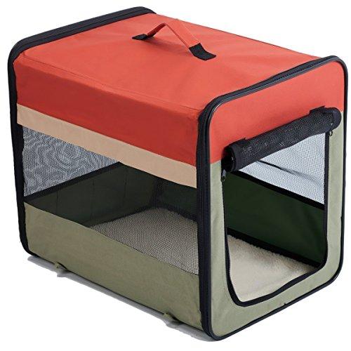 Favorite Faltbare Waschbar Transportbox (Tragekorb) für Haustiere Hund Katze mit Fenstern an Drei Seiten; Geeignet für Außenbesuch Transport und Luftverkehr;Weiches Material; in 3 Größen: Klein, Mittel und Groß