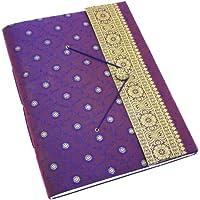 Fair Trade Album per fotografie ricoperto in tessuto sari extra grande viola 260 x 350 mm