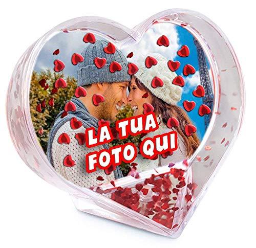 - senza marca/generico - globo portafoto personalizzato cuore cornice addobbo acqua glitter stampa personalizzata foto testo idea regalo san valentino