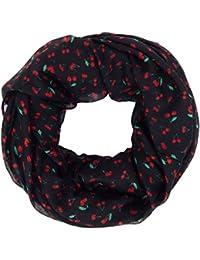 Ella Jonte FOULARD ÉCHARPE FEMME by Tube Snood noir rouge avec cerises très  chic rockabilly e343aff12e1