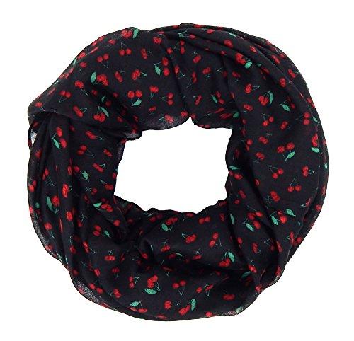Ella Jonte Loop Damenschal schwarz rot mit Kirschen Rockabilly