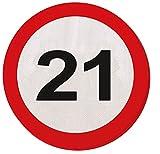 21. Geburtstag 20Papier Servietten Verkehrsschild Alter Party