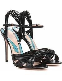 SHINIK Sandali Peep Toe donna Sandali con cinturino alla caviglia moda  estiva Sandali intrecciati con tacco ecc3b108c3f
