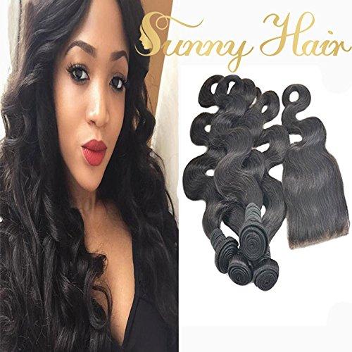Sunny Bresilien Vierge Body Wave/Ondule Cheveux 16 Pouces 50g/Bundle 4 Tissage et Closure 10 Pouces 3.5*4 Human Hair pour Fabriquer un Perruque