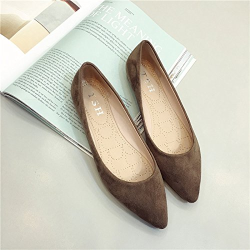 WYMBS Le cadeau le plus intime La nouvelle chaussure professionnelle minimaliste point light chaussures port chaussure basse chaussures de travail chaussures femmes chaussures pour les grands Brown