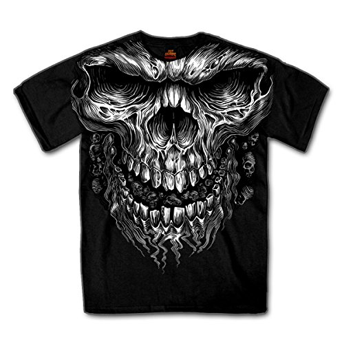 Biker Shirt Big Skull schwarz Chopper Bad Boy Totenkopf Zombie Grusel Horror Halloween (Pipe Shirt Show)