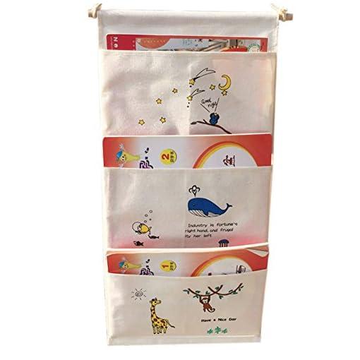 GudeHome Door Wall Hanging 3 Pockets Space-saving Hanging Shelves Storage Bag Gadget Pouch Cartoon Organiser Bag Foldable Wall Pocket Hanging Wall Shelf Organiser 62 * 30CM 51igKPbS0OL