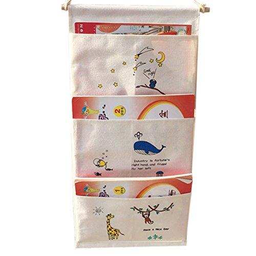 Highdas Door Wall Hanging 3 Pockets Space-saving hanging shelves Storage Bag Gadget Pouch Cartoon Organiser Bag Foldable Wall pocket Hanging wall shelf Organiser 62 * 30CM 51igKPbS0OL
