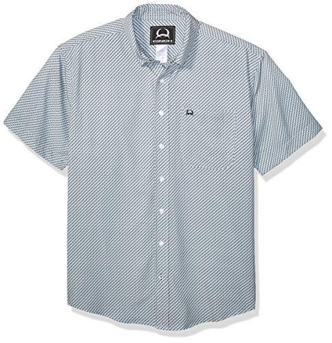 Button-down One Pocket Shirt (Cinch Herren Arenaflex Short Sleeve One Open Pocket Print Shirt Button Down Hemd, Cesar Light Blue, Mittel)