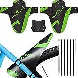 ODSPTER parafango - 2 Pezzi MTB parafango Anteriori e Posteriori Bike Fenders - 12 Fascette (Bianco) (2Big + 1small, Verde)