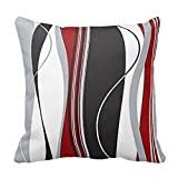 Wavy Vertical Stripes Red Black White Grey Cushion Covers 18 x 18 inch