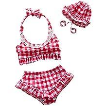 per costumi a due pezzi cuffia piscina carini ingraticciati costumi da bagno per bambine di 1 4 anni