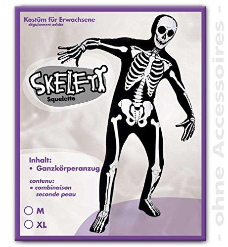 (KarnevalsTeufel Erwachsenenkostüm Skelett Bodysuit, Ganzkörperanzug, Skelett Knochenmann Toter (X-Large))