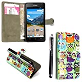 KAMAL STAR® HUAWEI HONOR HOLLY FLIP CARD PU LEDER CASE COVER HÜLLE ETUI TASCHE SCHALE + STYLUS (Design 01 Multi Owls Book)
