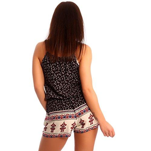 Damen Jumpsuit Shorts Overall Mehrfarbig/ Schwarz