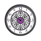 "CafePress - Purple Black White Damask Elegant Clock - Unique Decorative 10"" Wall Clock"