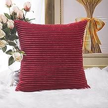 "Home Brilliant - Funda de cojín decorativa de pana diseño de rayas, tela, granate, 18""x18"""
