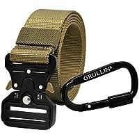 GRULLIN Heavy Duty Táctico Cinturon, Estilo Militar Web Reggers Cinturon, CQB Quick-Release Metal Hebilla Cinturón con Mosquetón con Cierre de Aluminio