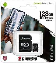 بطاقة مايكرو اس دي اكس سي كانفاس سيليكت بلس سعة 128 جيجا، فئة ايه 1 سي 10 بمعدل نقل 100 ومعالجة تلقائية للبيان