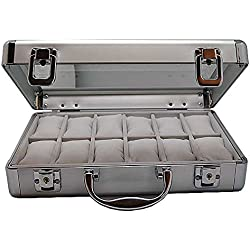 Watch Box for 12 Watches Lockable Aluminium 7008