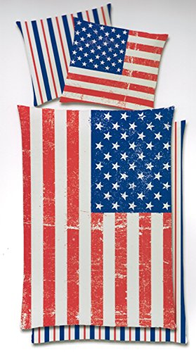 Wende Bettwäsche US Flagge Stars & Stripes 135x200 Global Labels G82600USA1100RE