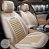 Sitzbezügesets Autositzkissen Breathable Faserhand + High Elastic Sponge Sommer Complete Set 5 Seats Car Seat Cushion Four Season Universal,Beige