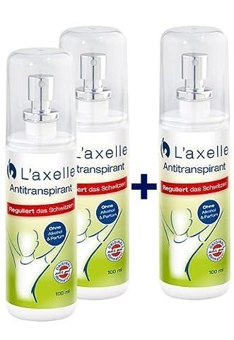 L'axelle Antitranspirant, 2x100ml+1x100ml, Aktion, Zerstäuber, gegen Achselschweiß und Schweißgeruch, reduziert deutlich das Schwitzen, hautverträglich, Dermatest