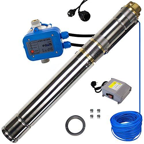 Tiefbrunnenpumpe awm® 3 Zoll AM.3STP-550-30SD102 Schraubenpumpe / SCREW-Funktion Tauchpumpe 550 Watt Wasserpumpe Brunnenpumpe Druckschalter AM.102 30m Ablassseil 30m Kabel max. 10 bar