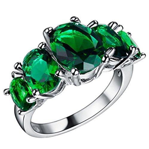 Adisaer Sterling Silber Ringe Verlobungsring Damenring Diamant Grün Oval Bandring mit Stein Größe 57 (18.1)