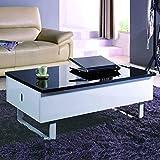 DecoInParis Table Basse Multifonction laquée Noir et Blanc MALINDO