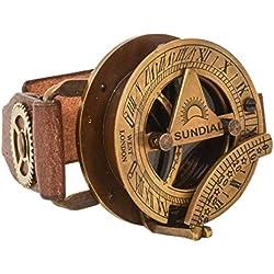 "Pulsera de Cuero con Reloj del Sol Gusti Leder ""Denise"" Brazalete Steampunk Reloj Cuero de Búfalo Marrón 2A160-24-10"