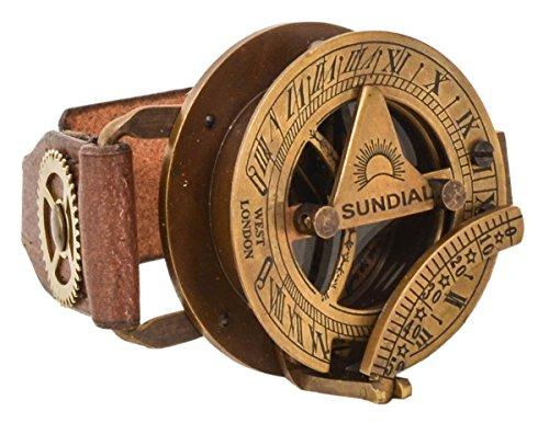 Lederarmband mit Steampunk Uhr Gusti Leder Studio Denise Kompass Sonnenuhr Armreif Büffelleder Braun 2A159-24-10 (Sonnenuhr Uhr)