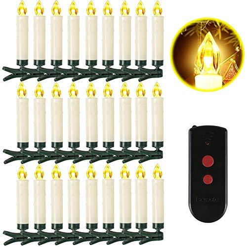 Weihnachtskerzen 10/20/30/40 Sets OZAVO, Christbaumkerzen mit Fernbedienung, kabellose Mini LED Kerzen, Weihnachtsbaumbeleuchtung 2 Lichtmodifikationen, Weihnachten(40 Sets)