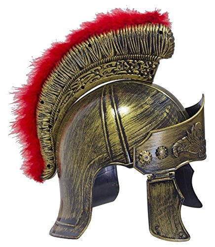 Gladiator Kostüm Römische Kind - Das Kostümland Römer Helm mit Visier und Federbesatz - Zum Gladiatoren Kostüm für Party und Fasching