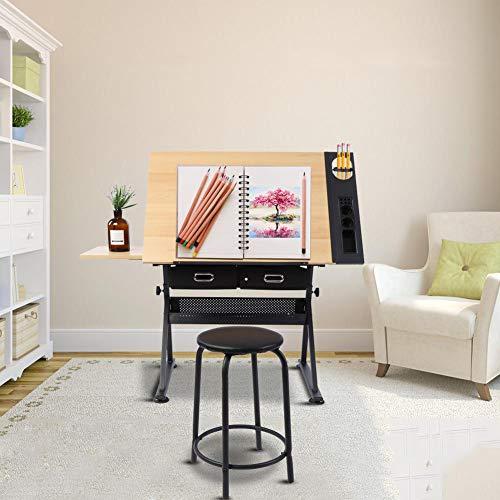 GOTOTOP Verstellbarer Zeichentisch Architektentisch Arbeitstisch Bürotisch mit Hocker und Schubladen, 120 x 60 x 77.5cm - Verstellbare Bürotische