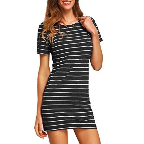 Sannysis Damen Streifen Kurzarm Gestreift Lose T-Shirt Kleid (Schwarz, s)