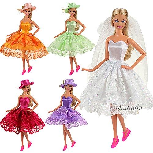 Miunana 9 artículos=3X vestidos 3 pares de zapatos 3X sombreros/velos para Barbie estilo al azar