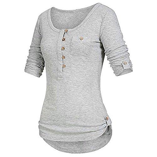 iHENGH Damen Sommer Top Bluse Bequem Lässig Mode T-Shirt Blusen Frauen festes langärmliges Knopf Blusen Pullover Oberseiten Hemd mit Taschen(Grau, M) -