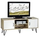 IDIMEX TV Lowboard TV Rack HiFi Möbel Fernsehtisch Eva 2 Türen 2 Ablagen, Spanplatte 3D Sturkturfolie Sonoma Eiche/weiß